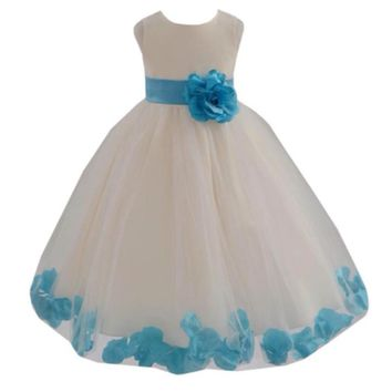Onlyshow Cute Ball Gowns Flower Girl Dresses With Bow Tulle Back Zipper Formal Vestido De First Comunion Customized