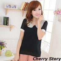 YESSTYLE: Cherry Story- Peter-Pan Collar Chiffon Top - Free International Shipping on orders over $150