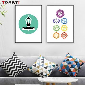 Chakra Cabala Meditation Yoga Canvas Painting Poster And Print Yoga Studio Wall Pictures For Living Room Wall Art Home Decor