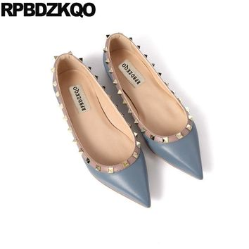 Patent Leather Custom Rivet Designer Shoes Women Luxury 2018 Italian Flats Rock Stud Genuine Pointy High Quality Brand Metal