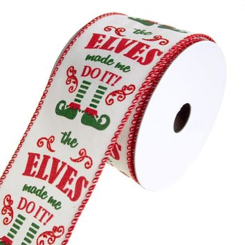Elf on Our Shelf Wired Christmas Holiday Ribbon, White, 2-1/2-Inch, 10 Yards
