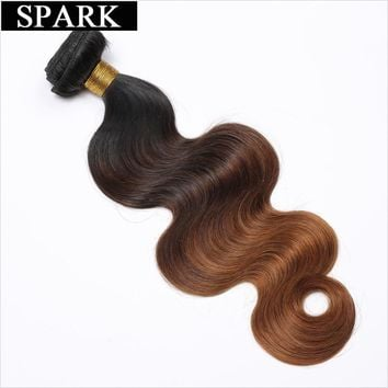 Spark 3 Tone Ombre Brazilian Body Wave Hair 1/3/4 Bundles 100% Human Hair Weave Bundles 10-26inch 1B/4/30 Remy Hair Extensions