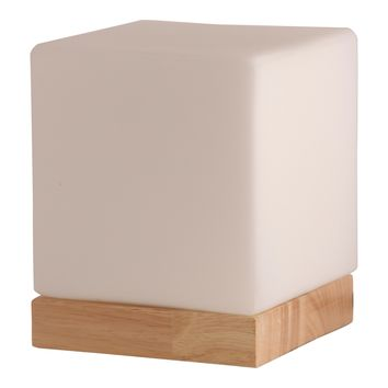 Light Accents Small Table Lamp Accent Lamp Glass Shade with Natural Wooden Base