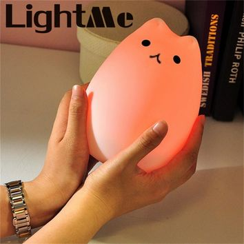 Cat LED USB Children Animal Night Light Silicone Nursery Lamp