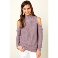 Fresh Feeling Purple Cold Shoulder Sweater