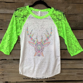 Lace Get Together White Burnout Baseball Tee with Neon Deer