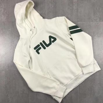 FILA Trending Men Women Hoodie Loose Print Long Sleeve Thick Sweater Top White