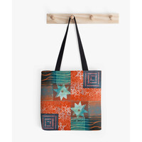 Christmas in July,Craft Tote,Shopping Bag,Beach Tote,Market Tote,Carry All Bag,Fabric Bag,Red,Blue,Original Art,Monotype,Vicki Bolen