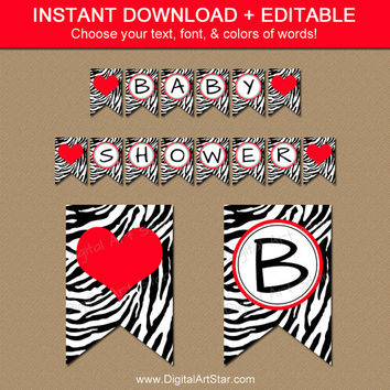 Zebra Baby Shower Banner Printable - Red & Black Party Decorations - EDITABLE Banner - Bridal Shower Banner - Photo Prop - Birthday Banner