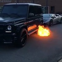 Mercedes Benz G Wagon Luxury SUV Shooting Flames