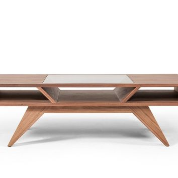 Modrest Dublin Mid Century Modern Walnut Coffee Table