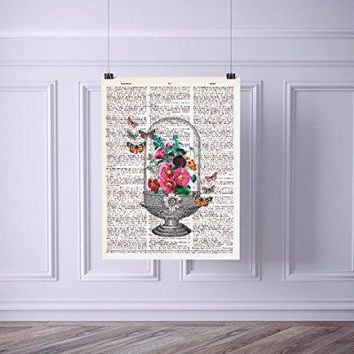 Terrarium with Butterflies Vintage Dictionary Style Art Print | Unframed | 8.5 x 11