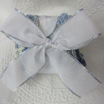 Knit Dishcloth/Washcloth/Dish Rag/Wash Rag Set of three Made with 100% Cotton Yarn in Faded Blues and Whites Ready to ship