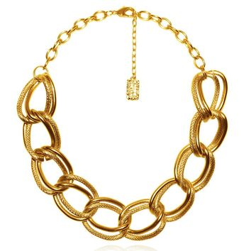 EMMA DOUBLE LINK STATEMENT NECKLACE IN GOLD