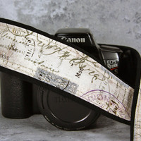 Vintage French Postage 2, dSLR Camera Strap, Paris, Postage Stamps, Script, SLR, 202 w