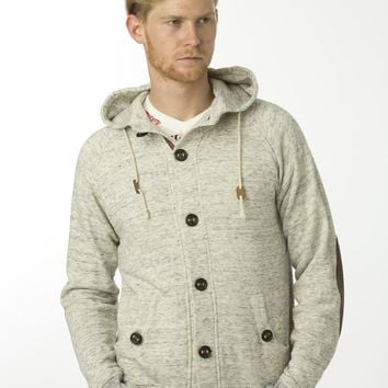 Under Two Flags Melange Button Up Hoody - Natural