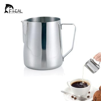 FHEAL Stainless Steel Coffee Tool Frothing Pitcher Pull Flower Cup Cappuccino Kitchen Tool Espresso Milk Frothers Latte Art
