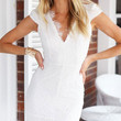 White V Neck Scalloped Trim Lace Mini Dress with Keyhole Back