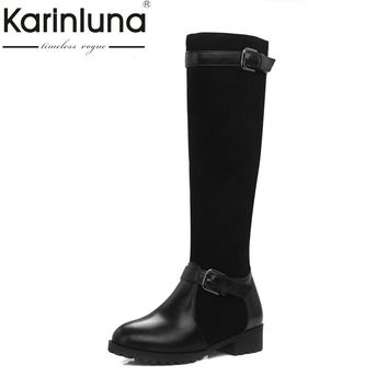 KARINLUNA Brand New Large Size 34-44 Square Heels Women Shoes Woman Riding Boots Winter Shoe Black Blue Brown Buckles Chaussure