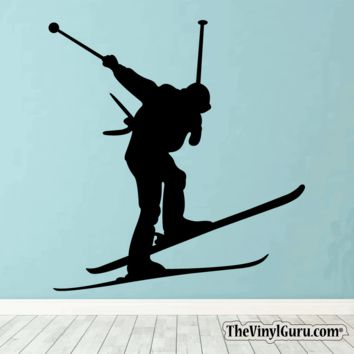 Skiing Wall Decal - Ski Sticker #00010