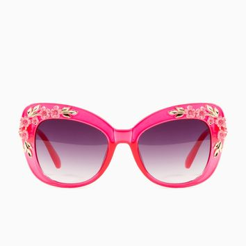 ShopSosie Style : Flower Power Sunglasses in Red