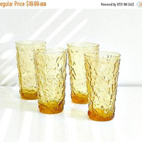 ON SALE Vintage Amber Glass Tumblers, Anchor Hocking Lido Milano Drinking Glasses, Set of Four, Mid Century Retro Glassware.