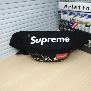 Black Supreme Crossbody Canvas Shoulder Chest Bag
