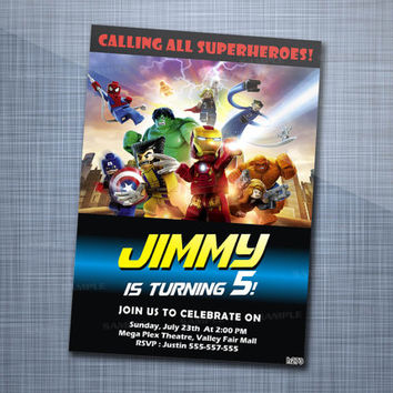 Lego Marvel Superhero, Birthday Party, Invitation Card Design