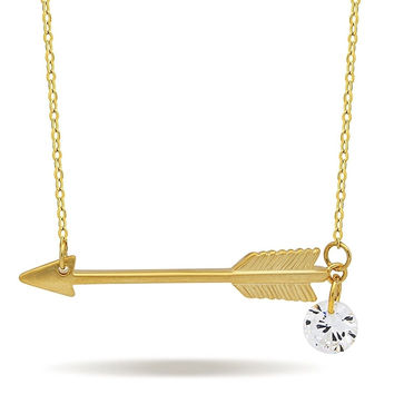925 Sterling Silver Small Arrow Necklace 14K Gold/Silver Plated Arrow Pendant...
