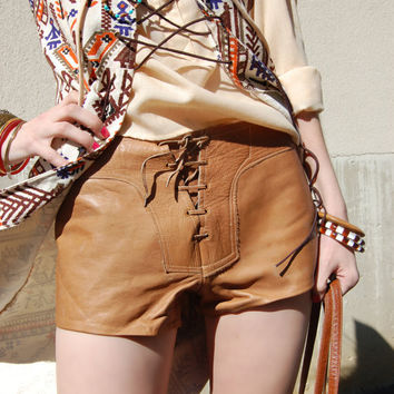 Vintage 60s Leather Hot Pants / leather by FrocksnFrillsVintage
