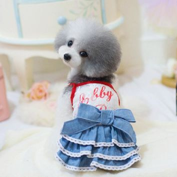 Hot sale free shipping hot dog Lace Jeans  skirt, dog's's jeans dress for Teddy bear, girl chihuahua,yorkshire,poodle two colors