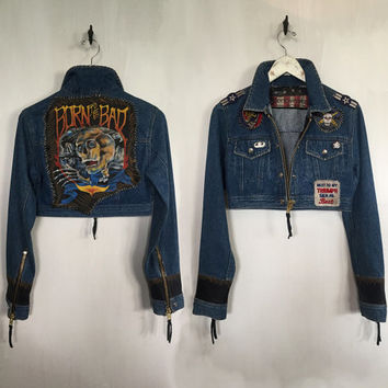 Customized Vintage Denim Biker Jacket Triumph motorcycle jacket epaulettes skull jacket patches gun club cropped jacket sexy biker medium