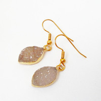 Druzy Leaf Earrings, Gold Eye Shape Oval Druzy Quartz  Earrings, Drusy Druzzy Agate Dipped in Gold Dangle