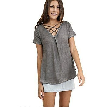 Umgee Women's Bohemian Mineral Washed Short Sleeve V Neck Tunic -Misses and Plus Size