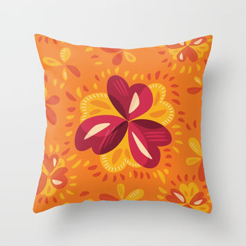 Orange And Pink Clover Abstract Floral Throw Pillow by borianagiormova