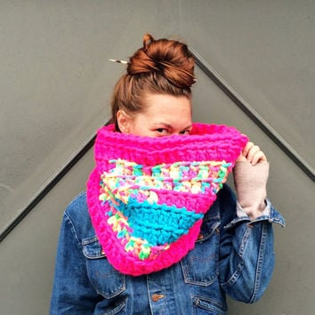 Highlighter Acid Trip Cowl Scarf. Chunky / Funky / Neon Rainbow / Ready to Ship!