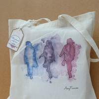 Canvas Tote bag  Girls illustrated  shopper  printed by Floralchic