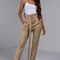 High Waist Straight Leg Trouser Pant with Matching Eyelet Loop Belt in Black