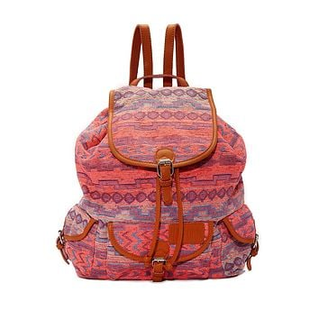 Large Bohemian Jacquard Backpack - Sunset