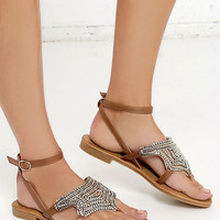 Sand Dune Camel Beaded Thong Sandals