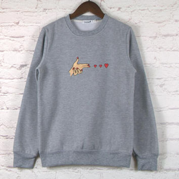 Grey Heart Embroidery Pattern Sweatshirt