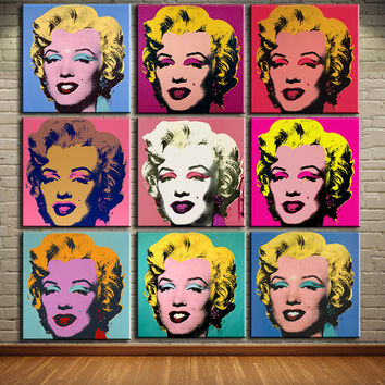 DP ARTISAN andy warhol 9pcs marilyn monroe wall art oil painting Prints Painting on canvas No frame  Pictures For Living Room