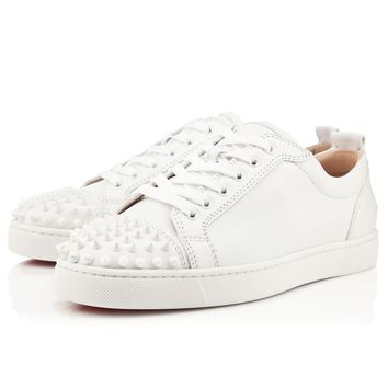 Christian Louboutin Cl Louis Junior Spikes Mens Flat White/white Leather Ss13 Sneakers