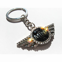Mini Cooper emblem with SWAROVSKI Crystals / Mini Cooper key chain / Mini Cooper key ring / Mini Cooper keychain Mini Cooper keyring lanyard
