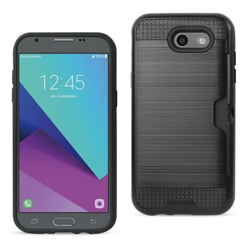 New Slim Armor Hybrid Case With Card Holder In Black For iPhone 7/ 6/ 6S