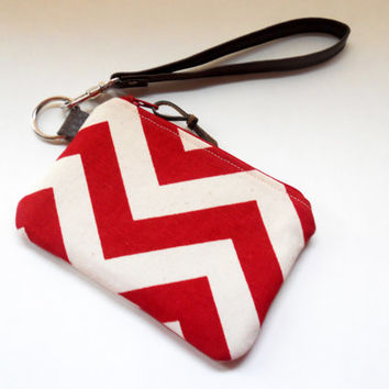 Small Zipper Wristlet, Key Chain Wallet, Coin Purse, Bridesmaid Gift, Red and Natural Chevron, Faux Leather Wristlet, Vegan Leather