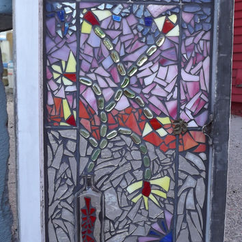 Flower vase mosaic window stained glass