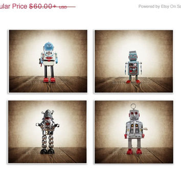 FLASH SALE til MIDNIGHT Set of Four Retro Robot Photo Art Prints, Wall Art for Kids Room, Vintage Space Decor, Sci Fi Art