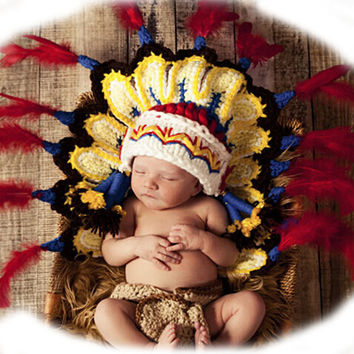 Handmade Native American / Indian Crochet Costume Set for Newborn Baby