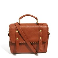 ASOS Satchel Bag With Scallop Trim And Front Straps at asos.com